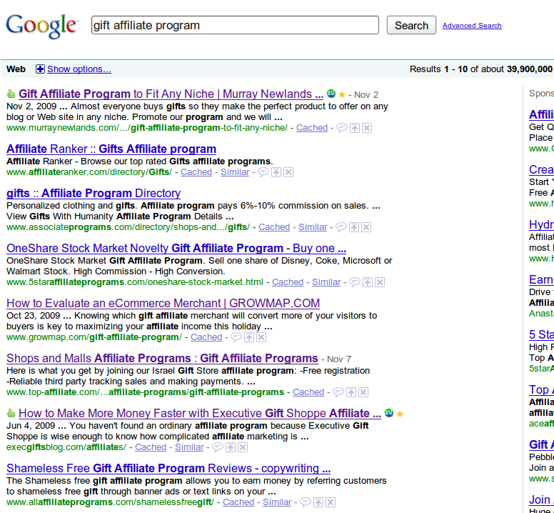 Today's Google SERPS for the phrase gift affiliate program