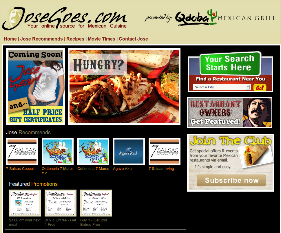 Joes Goes Texas Metro Page for Dallas