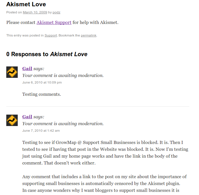After this post went live the ability to test to see what Akismet blocks was removed; click image to go to that page now.