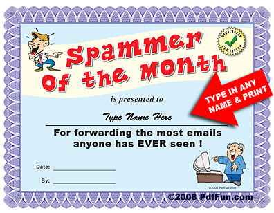 Spammer of the Month Award