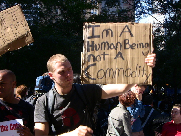 I'm a Human Being Not A Commodity Sign at Occupy Wall Street