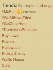 Twitter Trends Birmingham 10/25/11