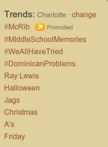 Twitter Trends Charlotte Oct 25, 2011
