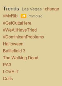 Twitter Trends Las Vegas 10/25/11