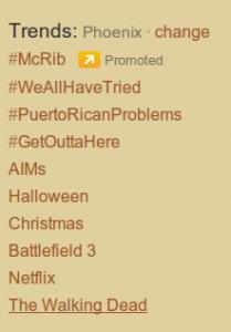 Twitter Trends Phoenix 10/25/11