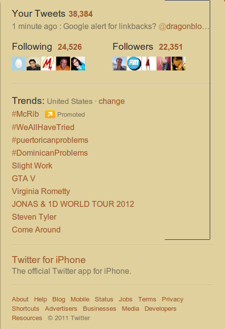 Screen Capture Twitter Trends Oct 25, 2011 United States