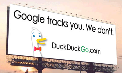 Google tracks you - DuckDuckGo.com DOES NOT! Click image to read Search Engine Watch post on the Unfiltered Results Movement