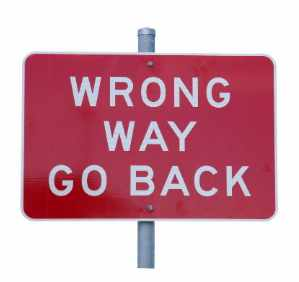 Wrong Way Go Back Street Sign