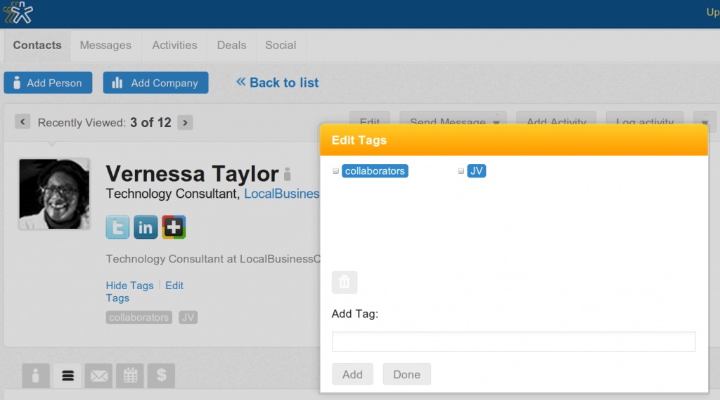 Edit Tags to Organize Your Nimble Contacts into Collaborations, Joint Venture Partners, Groups, etc.