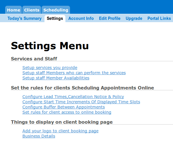 Online Appointment Scheduling Settings Menu