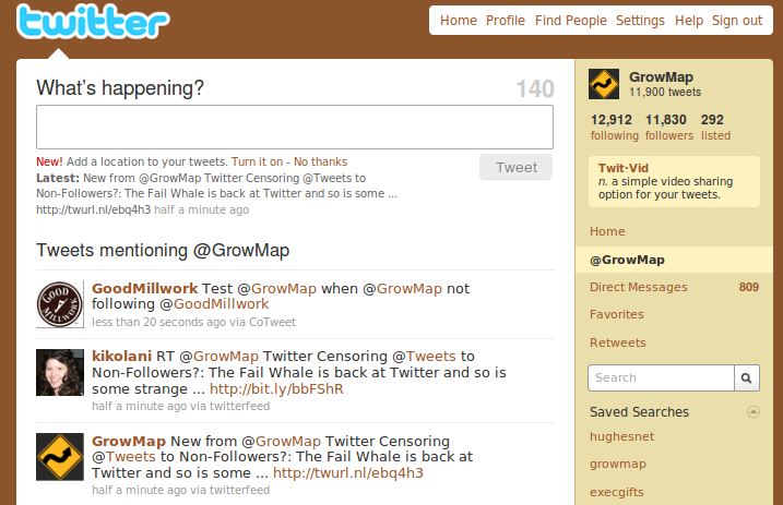 Tweet from @GoodMillwork to @GrowMap is visible