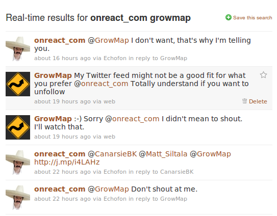 Tweets Onreact GrowMap