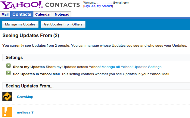 Yahoo Email Contacts Updates
