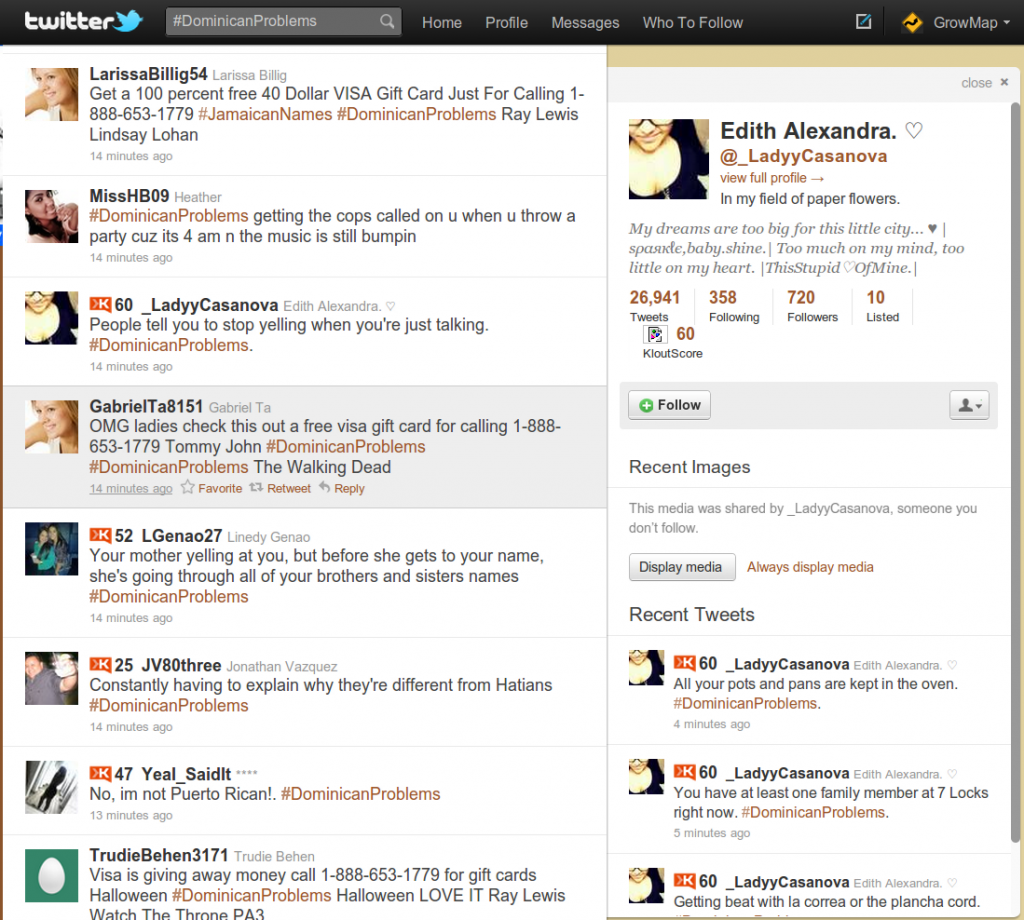 Real Tweets Showing in Twitter Stream AND in Profile Example 2