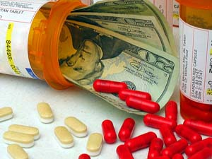 Big pharma pills and money