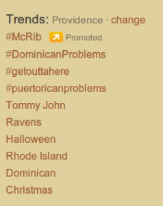 Twitter Trends Providence 10/25/11