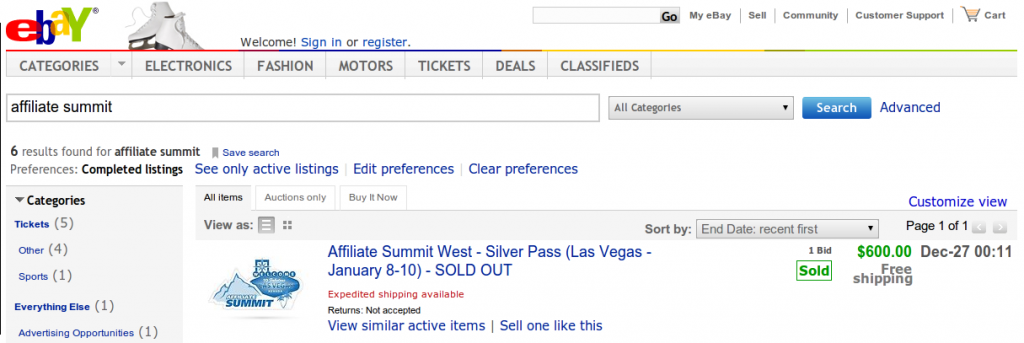 Affiliate Summit Sold Out eBay 600 Dollars
