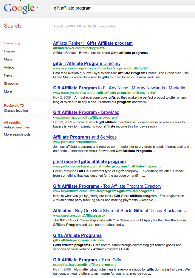 Google Results for search Gift Affiliate Program