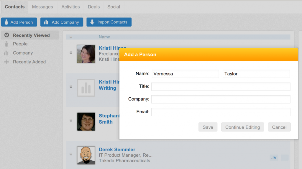 Screen capture showing How to Add Contacts to Nimble Manually