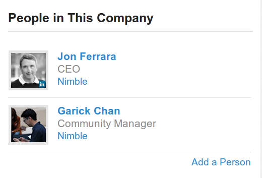 Nimble Section for People in This Company