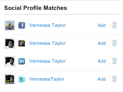 Social Profile Matches found by Nimble